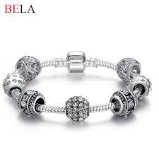 charm bracelet online images Fashion women bracelet silver plated crystal bead charm bracelet jpg