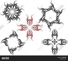 sun tribal tattoo vector tribal tattoo set cross sun flame designs stock vector
