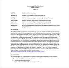 10 bookkeeper job description templates u2013 free sample example