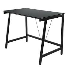 Contemporary Writing Desk Contemporary Glass Writing Desk Steel Frame Black Onespace