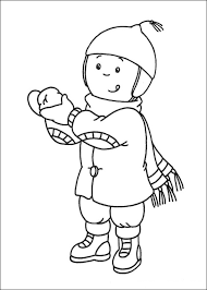 caillou coloring pages wearing winter clothes coloringstar
