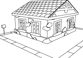 tooned cartoon house coloring wecoloringpage