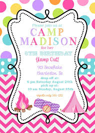 girls glam camping birthday party invitations printable or digital