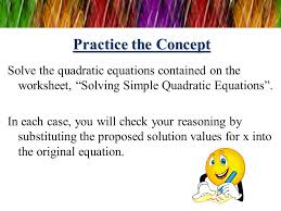 solving quadratic equations ppt video online download