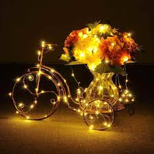 starry amber christmas lights string warm white color ledus on a