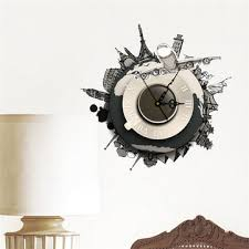 diy 3d wall stickers clock world earth wall decal clock 3d art