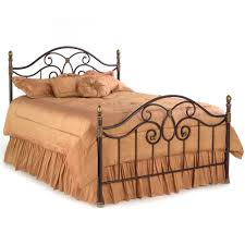 iron bed curving design autumn brown finish