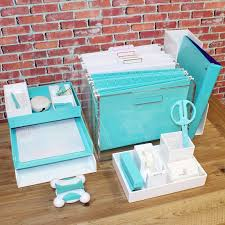 Blue Desk Accessories Cool Office Desk Accessories With Brick Walls And Wood Desk Also