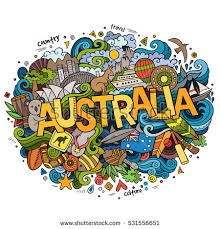 australia country lettering doodles elements stock vector