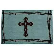 barbwire cross turquoise rug