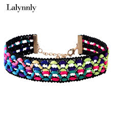 gothic design style reviews online shopping gothic design style lalynnly new design handmade colorful ribbon choker necklace gothic style popular choker for women n56011