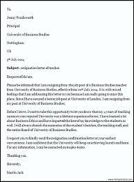 teacher resignation letter example templatezet