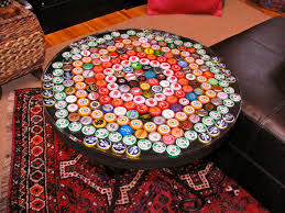 beer die table for sale bottle cap table with poured resin surface