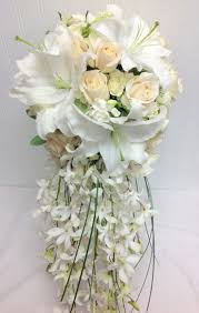 wedding flowers seattle white cascade bridal bouquet with white lilies roses orchids