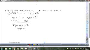 Multi Step Equations Worksheets Lesson 5 Skills Practice Solve Multi Step Equations 12 11 13 Youtube