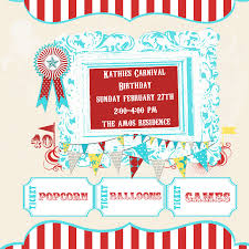 Printable Party Invitation Cards Carnival Birthday Party Invitations Theruntime Com