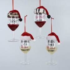 wine glass christmas ornaments pack of 8 and white wine glass with sayings christmas