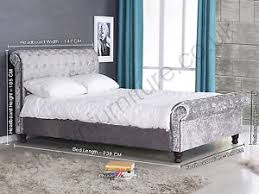 Grey Sleigh Bed Crushed Velvet Fabric Kingsize Upholstered Chesterfield Sleigh Bed