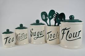 dillards kitchen canisters vintage 5 himark green and white canister set with