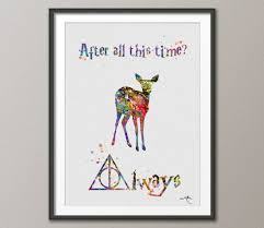 harry potter always watercolor print quote art deer painting