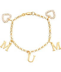 gold plated silver heart bracelet images Buy 18ct gold plated silver mum zirconia heart charm bracelet at jpg