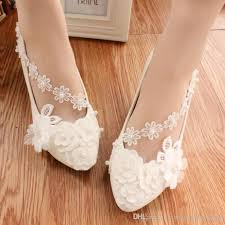 pearl lace white pearl wedding shoes ballerina flat ankle tie lovely pearl