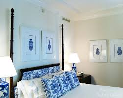 bedroom space saving interior idea of blue and white bedroom