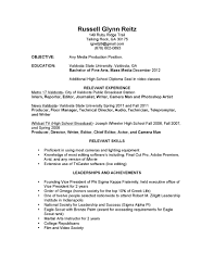 Resume For Video Production Resume For Videographer Resume For Your Job Application