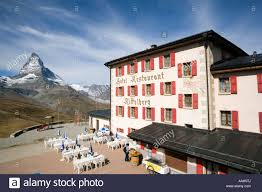 view on terrace of hotel and restaurant riffelberg 2582 m