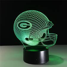 green bay packers lights nfl team 3d night light green bay packers helmet l 7 color