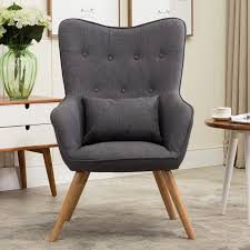 Living Room Upholstered Chairs Mid Century Modern Style Armchair Sofa Chair Legs Wooden Linen