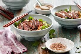 bbq ginger beef with cold sesame noodle salad