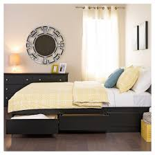 6 drawer platform storage bed queen black prepac target