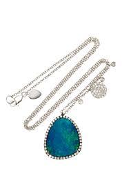 white opal necklace white gold opal diamond necklace by meira t moda operandi