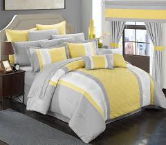 Yellow And Gray Bedroom by Amazon Com Chic Home 24 Piece Danielle Complete Pintuck