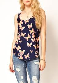 sleeveless blouses multicolor butterfly print neck sleeveless blouse blouses