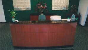 Granite Reception Desk Mahogany Veneer Reception Desk U0026 Crendenza Custom Designed