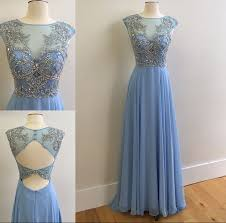 2017 sky blue prom dresses sparkly crystals open back long evening