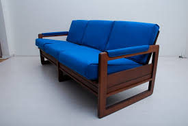 Wooden Frame Sofa Set Furniture Blue Sofa With Wooden Frame In Modern Style Alongside