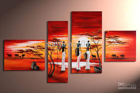 modern afrian life group oil painting home decorative flower