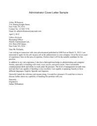 Admin Cover Letter Sle admin cover letter templates pertamini co