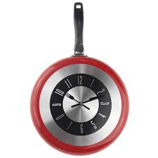 best 12 inch red kitchen frying pan kitchen wall clock