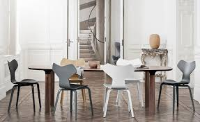 Arne Jacobsen Dining Chairs Grand Prix Chair With Wood Legs Hivemodern