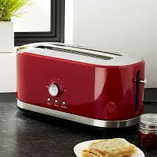 Under Cabinet 4 Slice Toaster Kitchenaid 4 Slice Long Slot Toaster Red Crate And Barrel