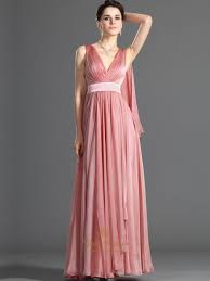 coral v neck floor length chiffon prom dress with watteau train