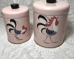 rooster canisters kitchen products vintage ransburg pink canisters set of 2 painted rooster design