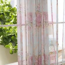 Pink Flower Curtains Flower Pink Sheer Curtains Of Poly And Cotton Blend