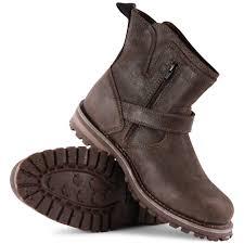 caterpillar vern mens slip on leather biker boots black
