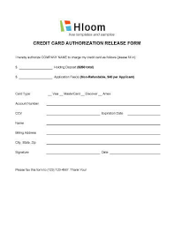 Credit Release Form Credit Card Authorization Forms Hloom