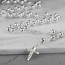 black silver rosary necklace images Sterling silver rosary necklace by hersey silversmiths jpg